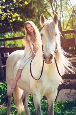 LUCKY LITTLE GIRL ON HER WHITE HORSE | JUST CUTE ...