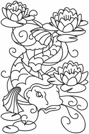 Koi and Lilies   Idea for wood burning pattern