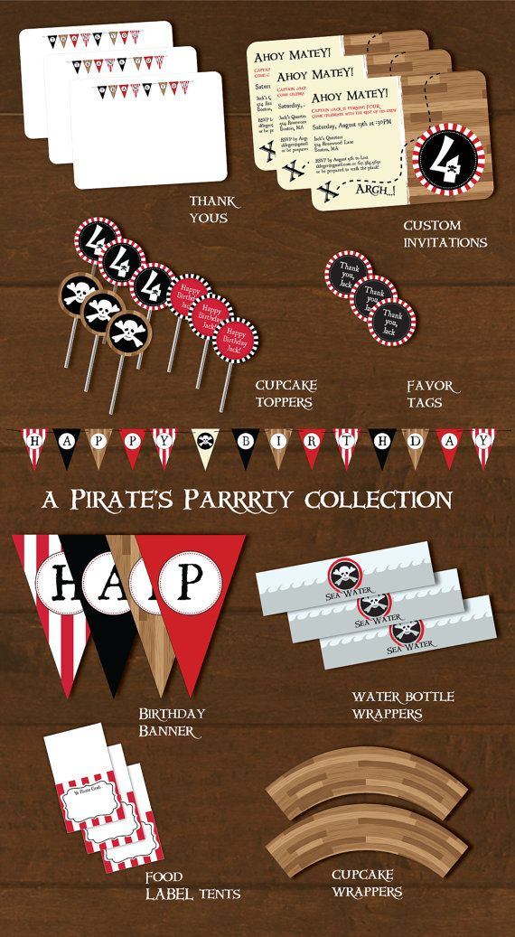 Pirate Party Decorations and Invitation Printable by thepaperplume, $35.00