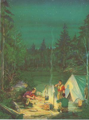 Beautiful Nostalgic Print Camping Campfire 11 X 14 | eBay