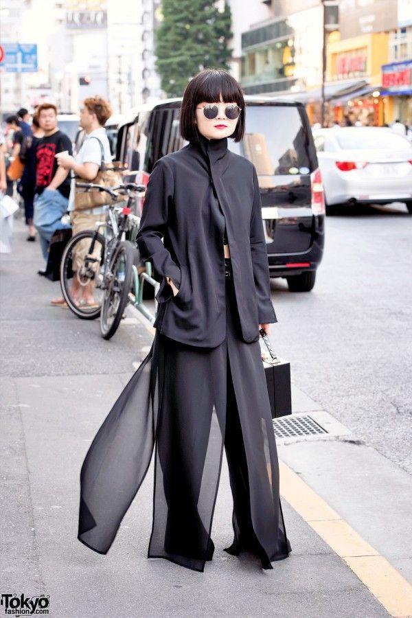 All Black Tokyo Style w/ Yohji Yamamoto Jacket, Sheer Pants & Box Purse (Tokyo Fashion, 2015)