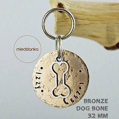 Ø 32 mm Adresówka Bronze Dog Bone [brąz]
