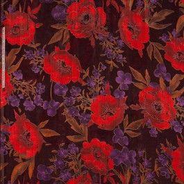 zwarte zijde viscose ausbrenner met rode bloemen