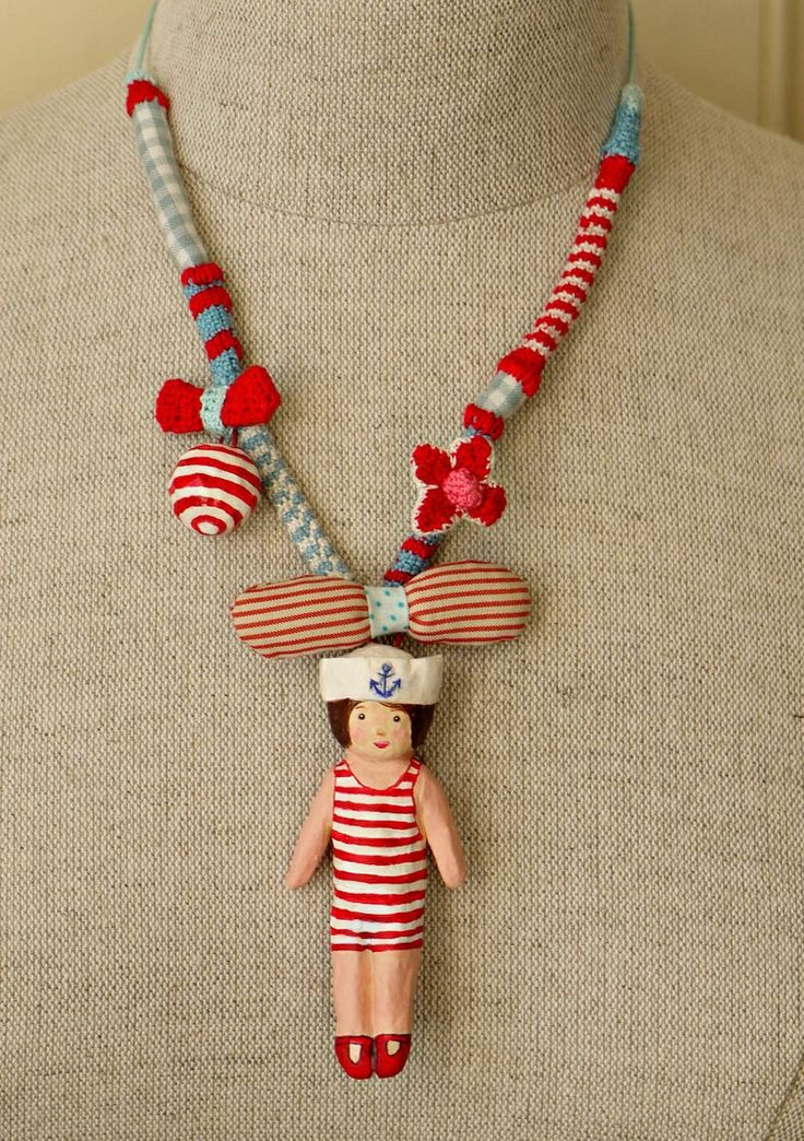 ♥Silly Necklaces, Dolls Sailors, Stripes Necklaces, Necklaces Nautical, Adorable Stripes, Dolls Necklaces, Sailors Necklaces, Girls Necklaces, Necklaces Ideas