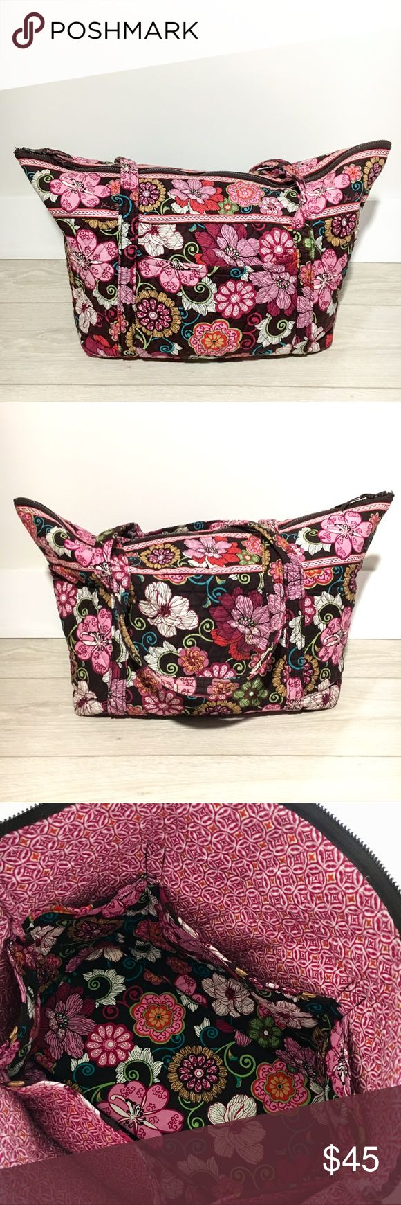 """Vera Bradley Travel Bag Mod Floral Pink Vera Bradley Travel Bag in Mod Floral Pink 6 roomy slip pockets inside bag and zip-top closure.  1 large slip pocket on outside of bag.  In great condition!   Dimensions: 13.5"""" H; 16"""" W; 7.5"""" D with 13"""" strap drop Vera Bradley Bags Travel Bags"""