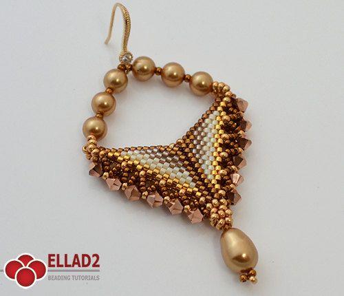 Tutorial Grace Earrings - Beading Tutorial, Beading Pattern, Triangle shaped earrings, Instant download, design by Ellad2
