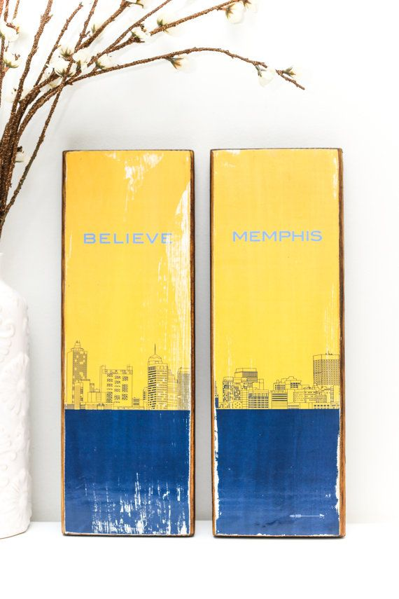 Believe Memphis Grizzlies themed City Line Drawing blue and yellow image transfer on salvaged wood, by getARCHd - great Memphis gift!