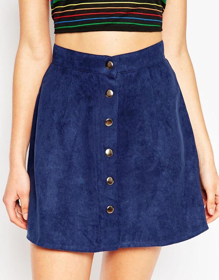 Motel Button Through Faux Suede A-Line Skirt (Sale $23.00 CAD)