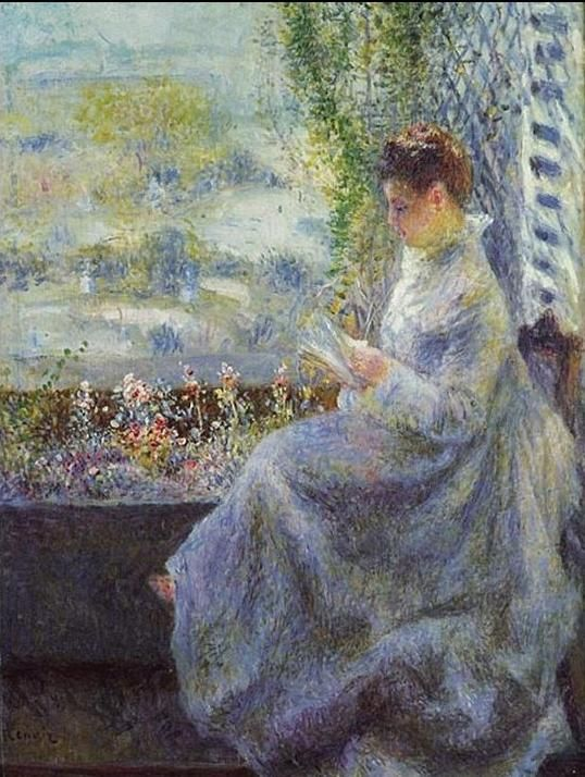 Pierre Auguste Renoir (1841-1919) - Mme Coquet in lettura - 1876 - Private Collection