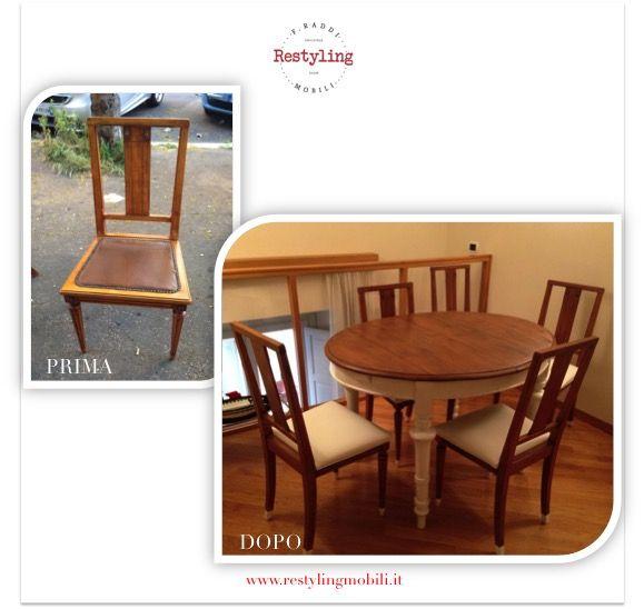 Restyling sala da pranzo composta da tavolo allungabile in stile shabbi chic e sedie rifoderate con pelle bianca by Restyling Mobili - www.restylingmobili.it