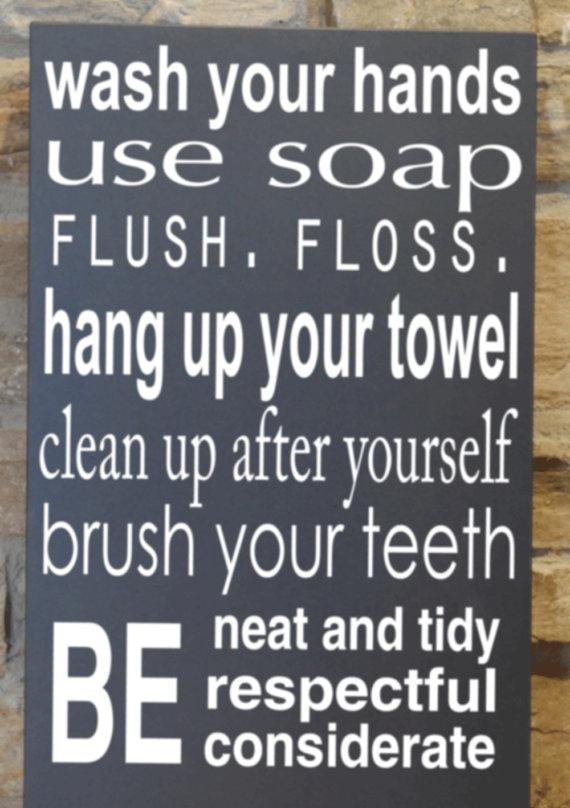 Love this for the boys bathroom!: Boys Bathroom, Bathroom Rules, Kids Bathroom, Bathroom Wall, Bathroom Subway Art, Bathroom Ideas, Girls Bathroom, Bathroom Signs, Teen Bathroom