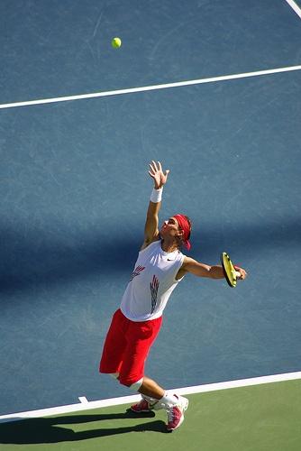 Rafael Nadal serving - US Open #tennis #USOpen