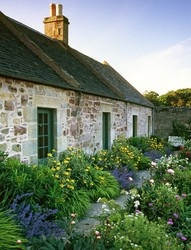 Beautiful stone cottage. Love the contrasting purple and yellow flowers