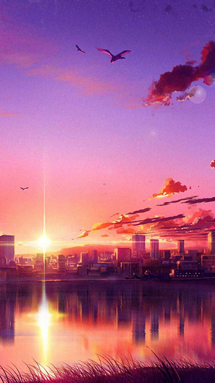 Anime Sunset Scene B Iphone Wallpapers Hd In 2020 Anime Scenery Wallpaper Anime Scenery Scenery Wallpaper