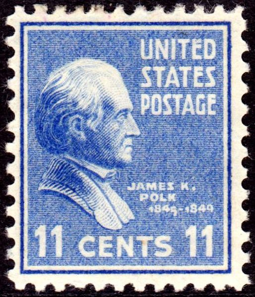 James K Polk 1938 Issue-11c - On June 2, 1890 the US Post Office issued a brown 5-cent Postage stamp honoring Ulysses S. Grant. It was the first US Postage stamp to depict the former President and Civil War General. This issue was released exactly twenty-five years after Gen. Edmond Kirby Smith's surrender of the last major Confederate army at Galveston, Texas, on June 2, 1865. The issue was printed by the American Bank Note Company.[43]