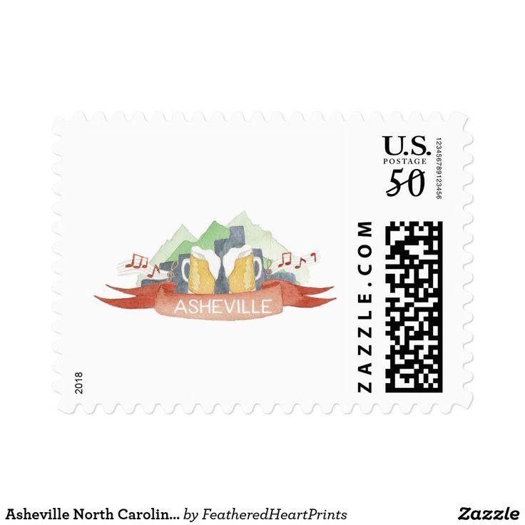 Asheville North Carolina inspired postage stamp