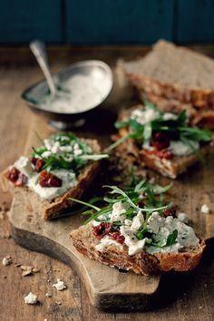 ricotta and sun-dried tomato baguette // ricotta, feta, olive oil, salt, pepper…