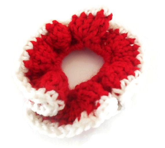 Crochet hair scrunchie, handmade hair tie, elastic hair band, girls hair accessory, Red and white, tie back, little girls hair scrunchie