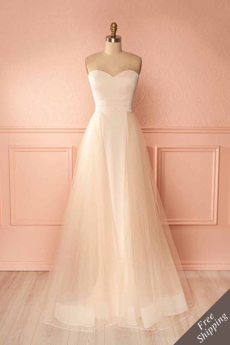 Nicinha Blush Bustier Gown with Tulle | Boudoir 1861