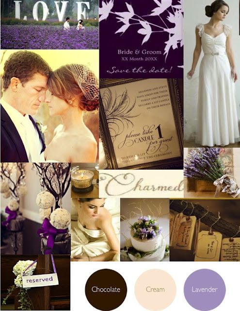 Lavendar and cream wedding... Pretty. These colors would look nice in a house...