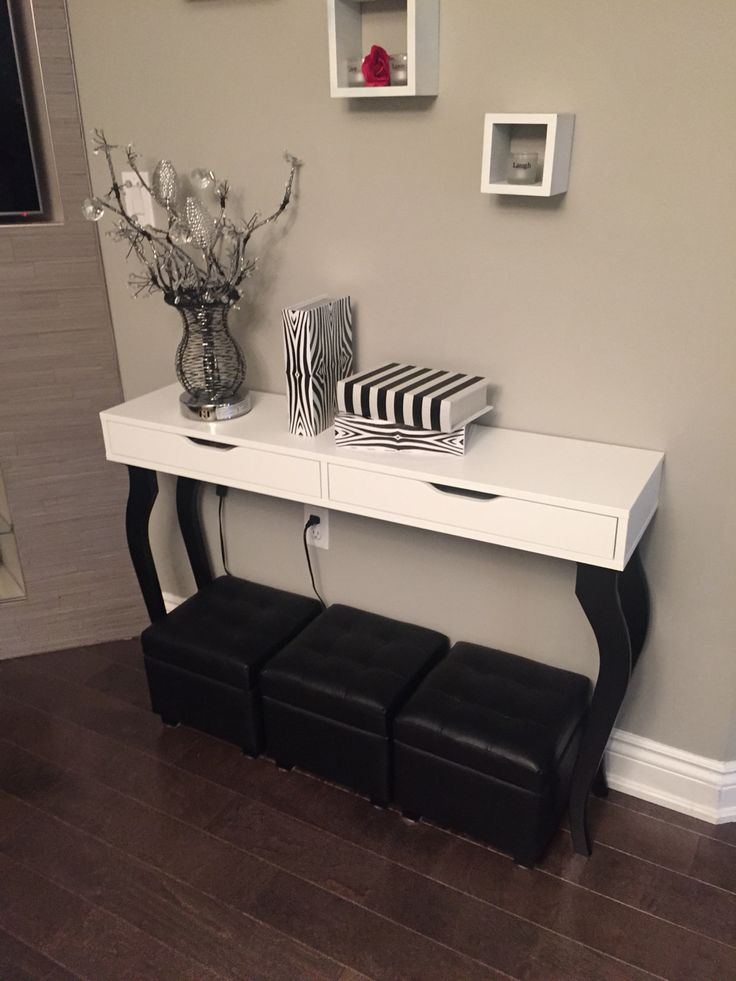 Diy ikea hack console table alex shelf with drawers and 4 for Console meuble ikea