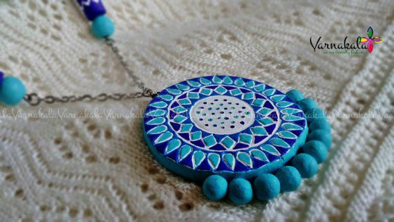 BLUE PURPLE & WHITE Floral Handmade Terracotta by Varnakala