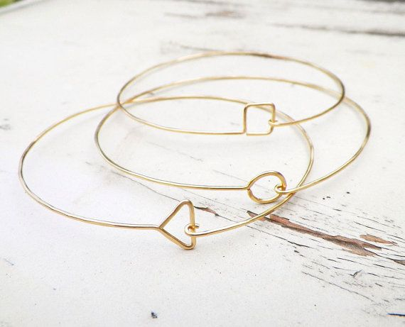 Delicate Gold Geometric Bangles, set of 3 thin hammered bracelets.