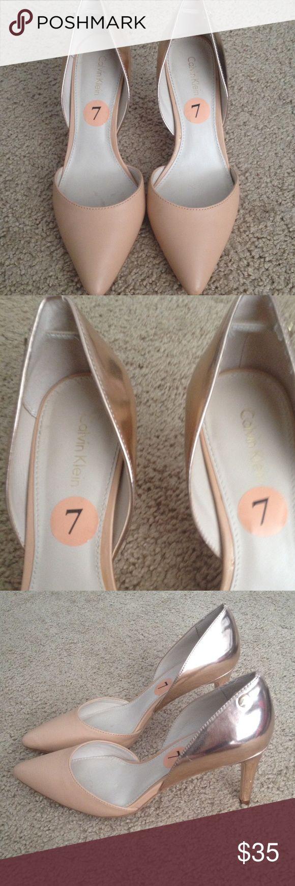 Calvin Klein tan and gold pumps Calvin Klein tan and gold pumps Calvin Klein Shoes Heels