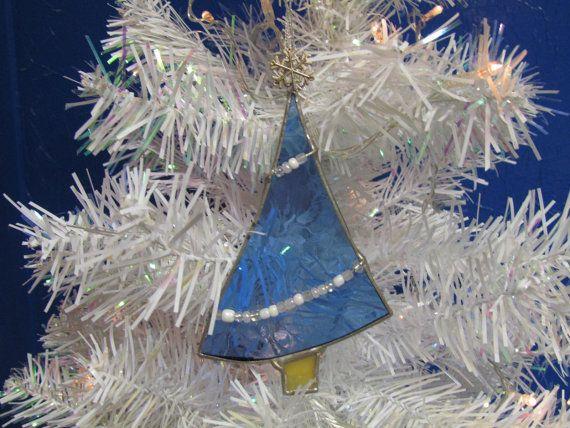 Sapin de Noël en verre teinté bleu, décor de vacances, ornements, arbre, ornements bleus, arbre de Noël, Blue Christmas