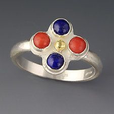 "Lapis and Coral Ring by Jennifer Park (Silver & Stone Ring) (0.5"" x 0.5"")"