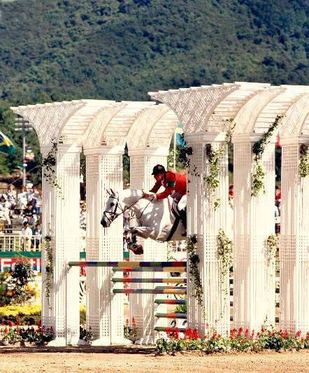 "Probably one of the most instantly recognizable showjumping pictures - Gem Twist and Greg Best at the 1988 Seoul Olympics. ""Icey"", a Thoroughbred gelding, was one of the best show jumpers ever. He was the only horse to be voted AGA Horse of the Year 3 times and amassed over 800k in prize money in his career. I had this pic my bedroom as a kid :) Loved Gem!"
