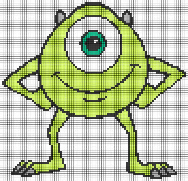 MIke Wazowski - Monsters, Inc perler bead pattern