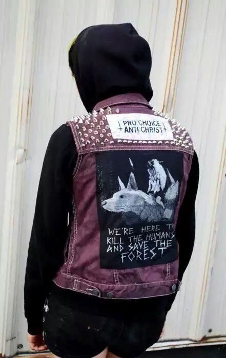 Punk Denim Vest Punk Outfits Grunge Outfits Punk Jackets