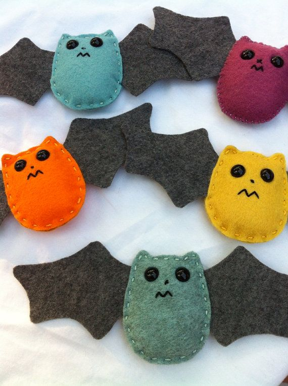 handmade felt bat ornament for Halloween on Etsy