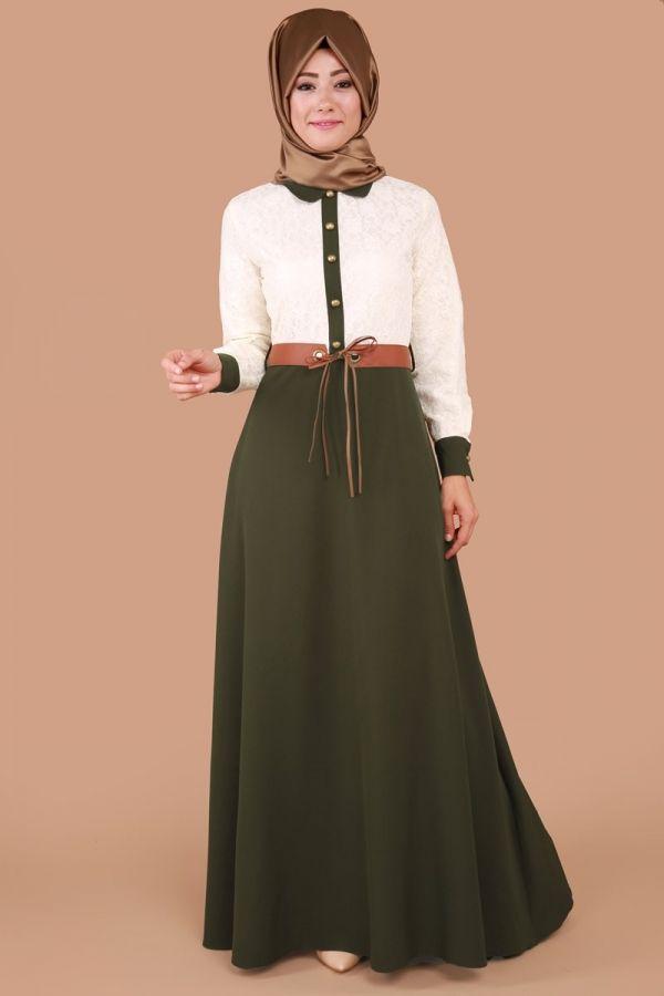 Dantel Detay Kemerli Elbise Haki Ürün kodu: MSW8141 --> 99.90 TL