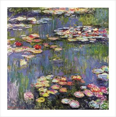 MONET, Water-lilies and Nympheas, painting poster print by Claude Monet in Giverny