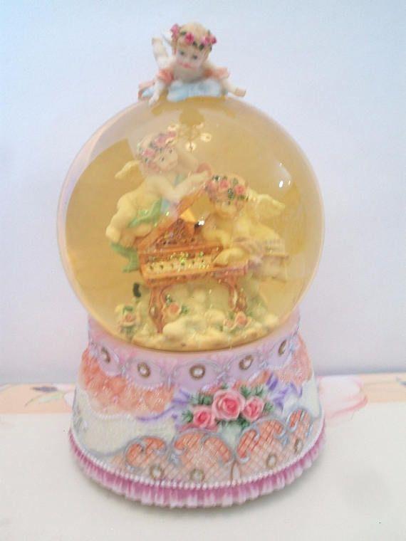 Cherub Angel Musical Snow Globe Dome Piano Pink Roses Home