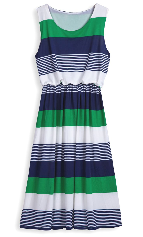 Green Round Neck Sleeveless Striped Mid Waist Dress - Sheinside.com