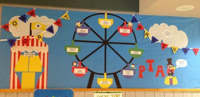 Promoting your Spring Carnival!  Great bulletin board ideas!  #springcarnival #decorating