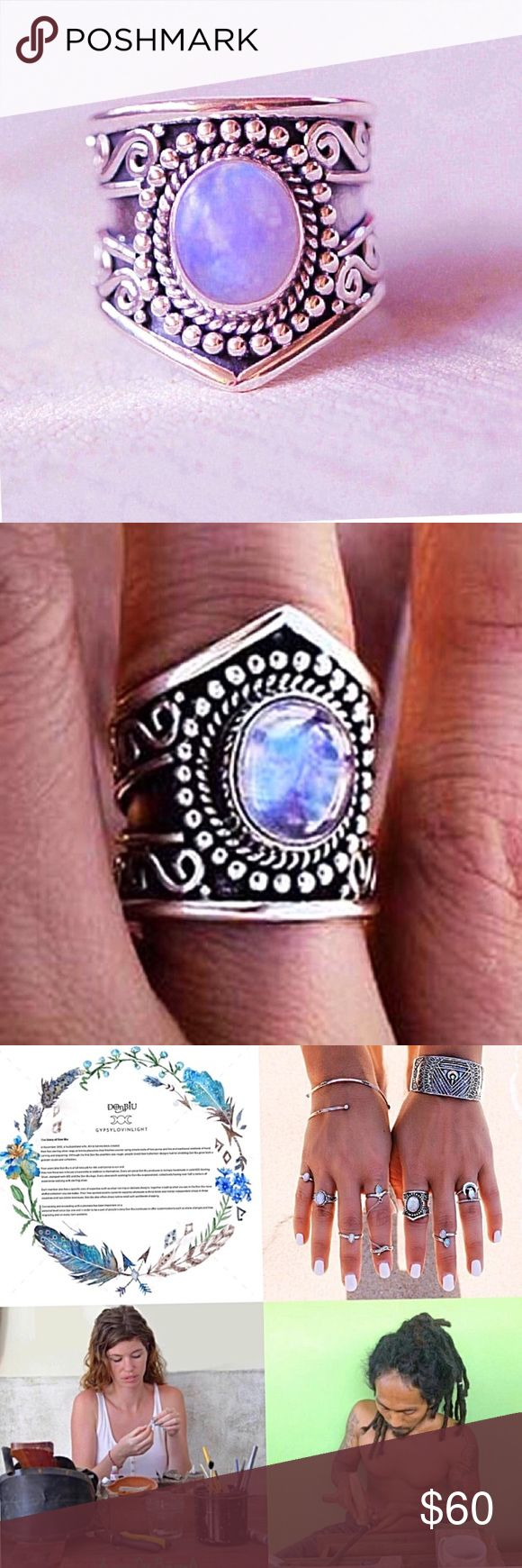 Coming soon💥Boho rainbow moonstone ring Hand crafted by