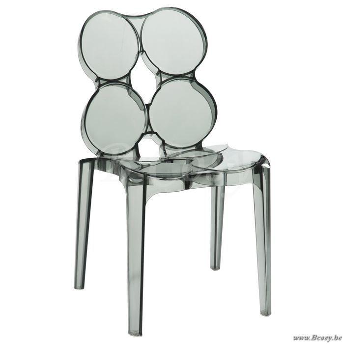 J-Line Moderne kunststof stoel met cirkels zwart transparant plastic - Stoelen Krukken - BCosy Webshop Boutique Web Vente en Ligne