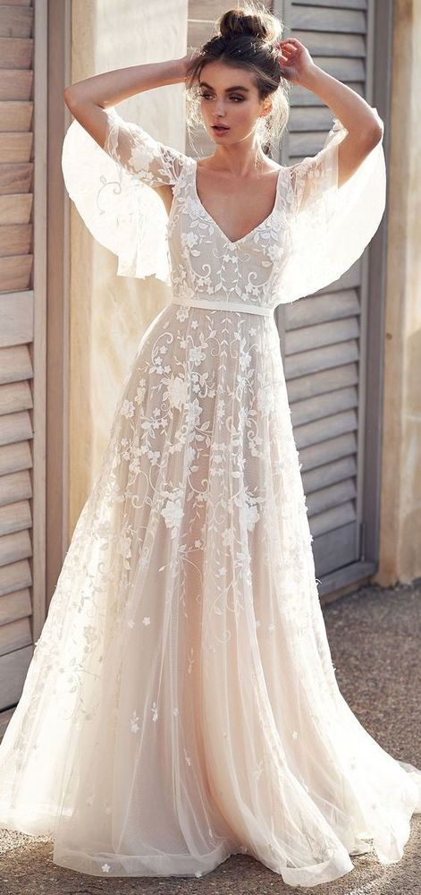 White wedding dress lace applique wedding dress v neck wedding dress half sleeves wedding dress