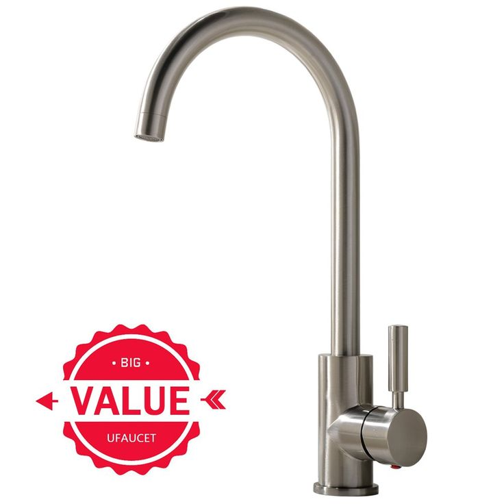 Ufaucet Contemporary High-arch Gooseneck Lead-free Solid Brass 360 Degree Swivel Spout Hot and Cold Water Brushed Nickel Kitchen Faucet