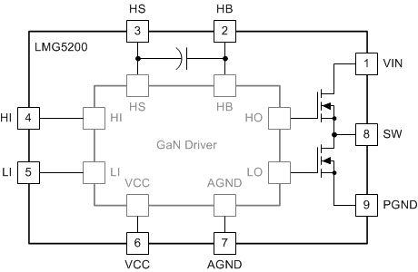 LMG5200 Simplified Block Diagram