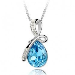 Angel Tears Crystal Necklace Crystal Rhinestone Drop Chain Necklace Pendant B39 Fashion Water Drop Necklaces