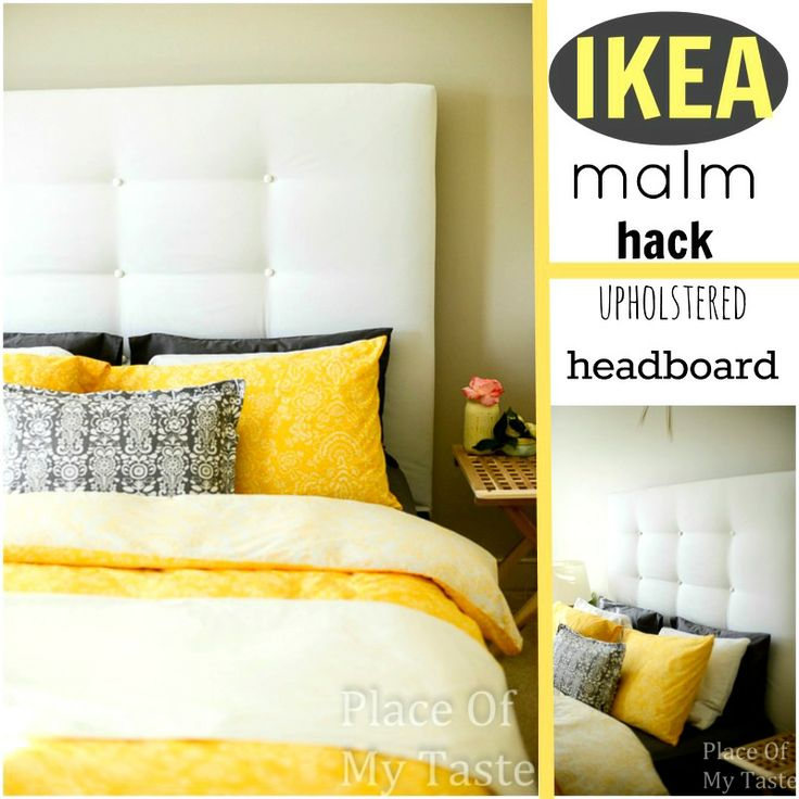 ikea hacks a diy upholstered malm headboard perspective focus on and the guest. Black Bedroom Furniture Sets. Home Design Ideas