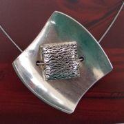 Besteck Schmuck Collier Gabel Löffel silber Stahlband Art Deko WMF BSF OKA Wilkens R&B Wellner gefertigt von Marion Heine Soulous Art