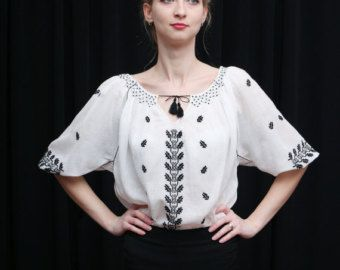 Romanian Embroidery blouse blue embroideryhippie blouse