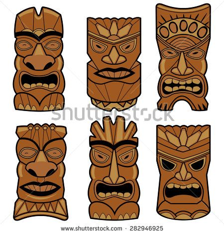 Hawaiian tiki statue masks set. Illustration set of cartoon carved Hawaiian tiki god statue masks. - stock vector