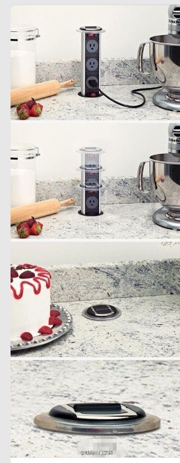 Concealable multiple plugs in your kitchen counter top. Smart! Follow rickysturn/diy-home-decor